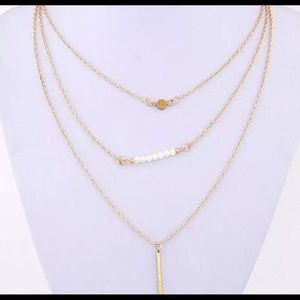 Multilayer Gold Plated Simple Pearl & Bar Necklace